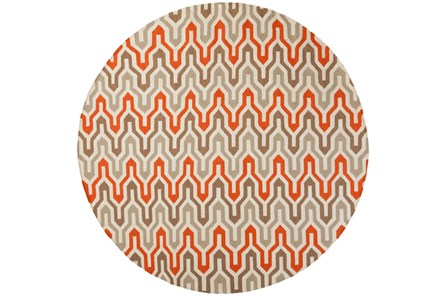 96 Inch Round Rug-Andres Taupe/Tangerine