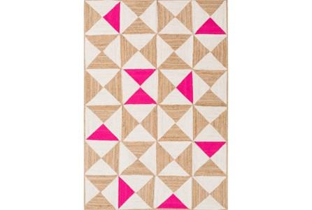 96X120 Rug-Hourglass Beige/Hot Pink