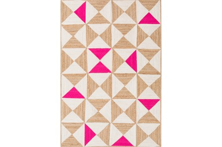 96X120 Rug-Hourglass Beige/Hot Pink