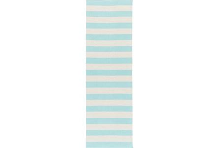 30X96 Rug-Puerto Stripe Sky Blue