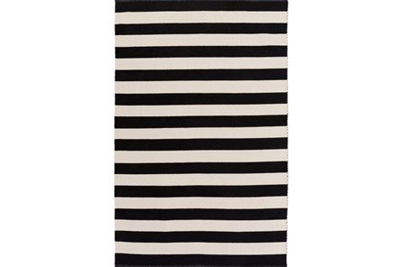 96X120 Rug-Puerto Stripe Black - Main