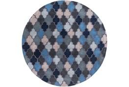 96X96 Rug-Einstein Round Blue