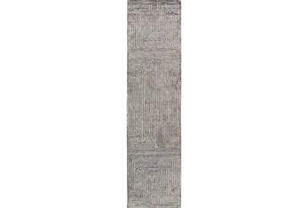 """2'5""""x10' Rug-Ranura Light Grey"""