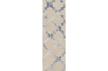 """2'5""""x8' Rug-Isaiah Light Grey/Cobalt"""