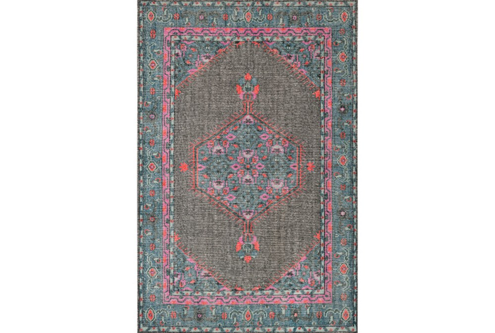 24X36 Rug-Nancy Charcoal/Teal/Pink