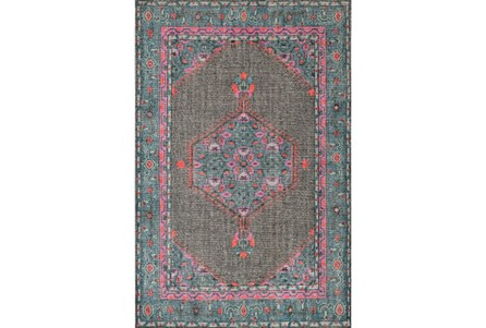 66X102 Rug-Nancy Charcoal/Teal/Pink