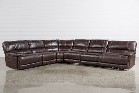 Marx Nutmeg 6 Piece Power Reclining Sectional W/2 Armless Chairs