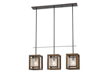 Pendant-Mission Wood 3-Light
