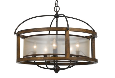 Chandelier-Mission Round Wood