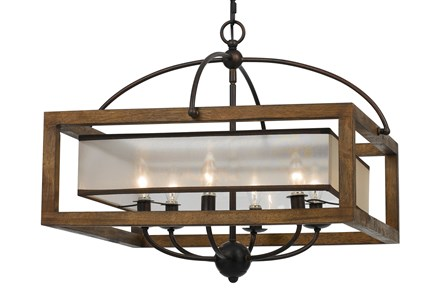 Chandelier-Mission Wood 6-Light