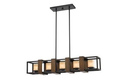 Chandelier-Halogen 5-Light Wood - Main