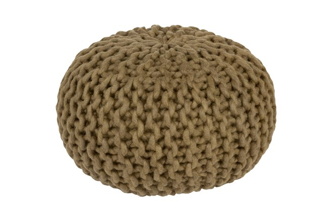 Pouf- Cabled Olive - 360