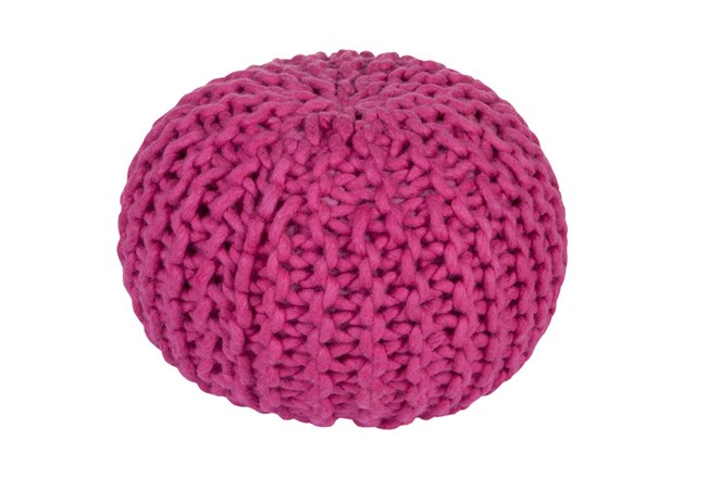 Pouf-Cabled Magenta - 360
