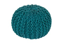 Pouf-Cabled Teal