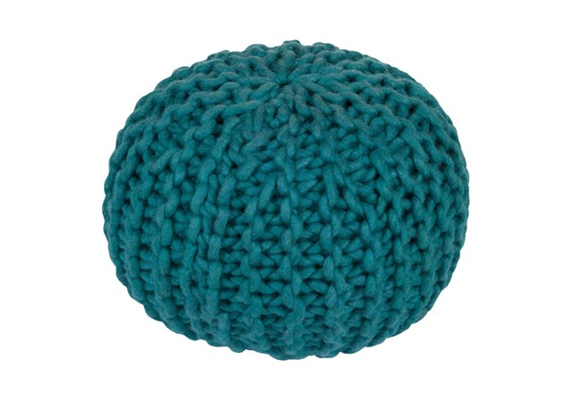 Pouf-Cabled Teal - 360