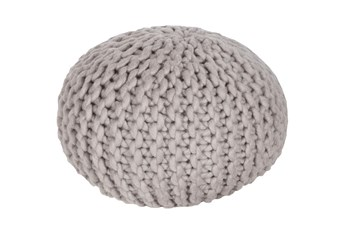 Pouf-Cabled Light Grey