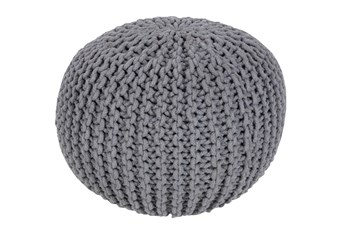Pouf-Cabled Grey