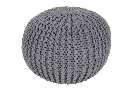 Pouf-Cabled Grey - Main