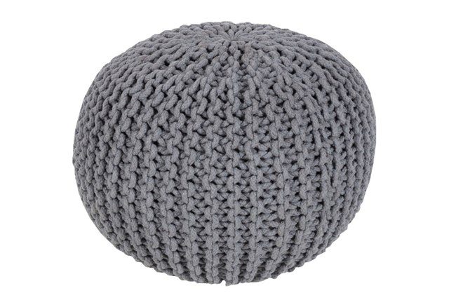 Pouf-Cabled Grey - 360