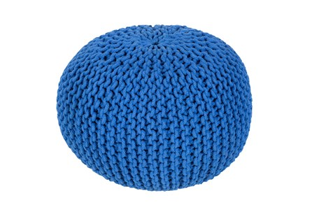 Pouf-Cabled Cobalt - Main