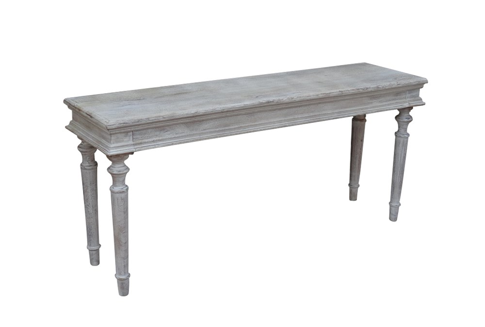 White Wash Turned Leg Console Table
