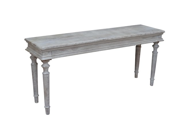 White Wash Turned Leg Console Table - 360