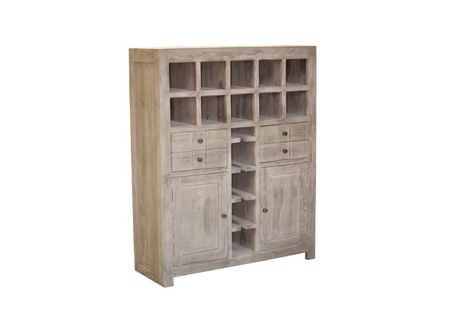 Pickle Grey Wine Cabinet - 360