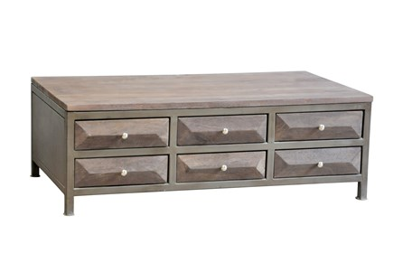 Walnut Finish 6-Drawer Coffee Table