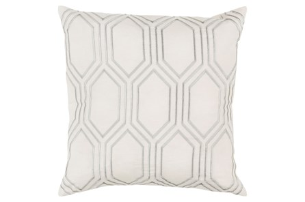 Accent Pillow-Natalie Geo Ivory/Light Grey 18X18 - Main
