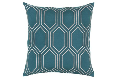 Accent Pillow-Natalie Geo Teal/Light Grey 20X20