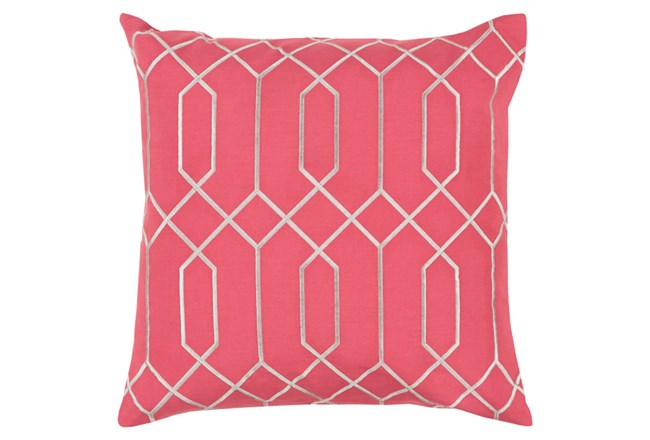Accent Pillow-Nicee Geo Carnation/Light Grey 18X18 - 360