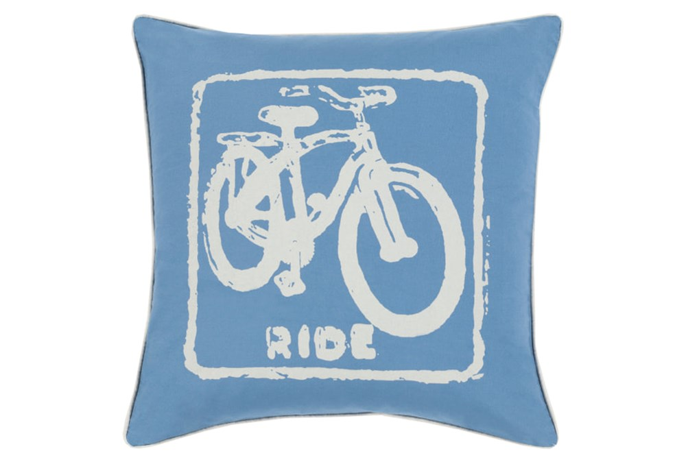 Accent Pillow-Ride Cobalt/Beige 18X18