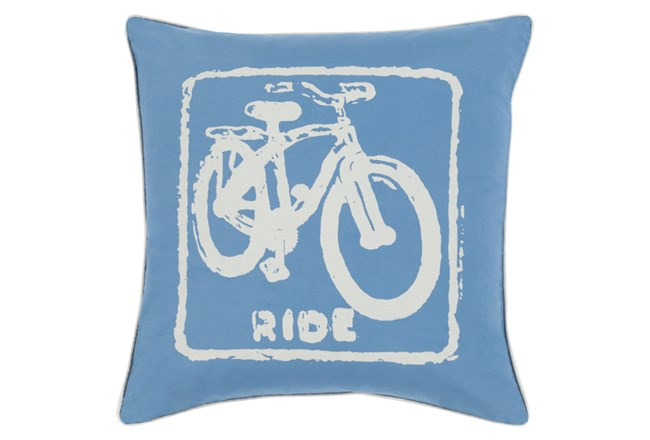 Accent Pillow-Ride Cobalt/Beige 18X18 - 360
