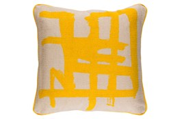 Accent Pillow-Amos Abstract Light Grey/Lemon 20X20