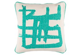 Accent Pillow-Amos Abstract Teal/Light Grey 20X20