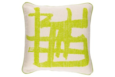Accent Pillow-Amos Abstract Light Grey/Lime 20X20