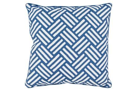 Accent Pillow-Crossweave Geo Cobalt/Ivory 20X20