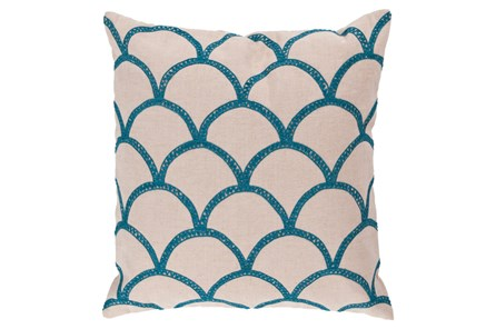Accent Pillow-Scales Geo Ivory/Teal 22X22