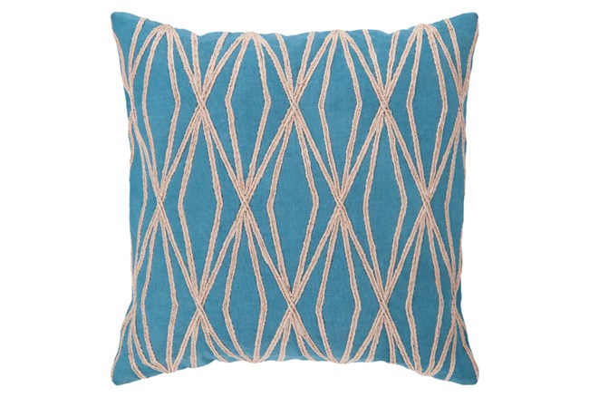 Accent Pillow-Twines Geo Aqua/Beige 18X18 - 360