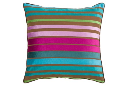 Accent Pillow-Riley Velvet Teal Multi Stripe 18X18