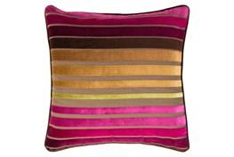 Accent Pillow-Riley Velvet Magenta Multi Stripe 22X22