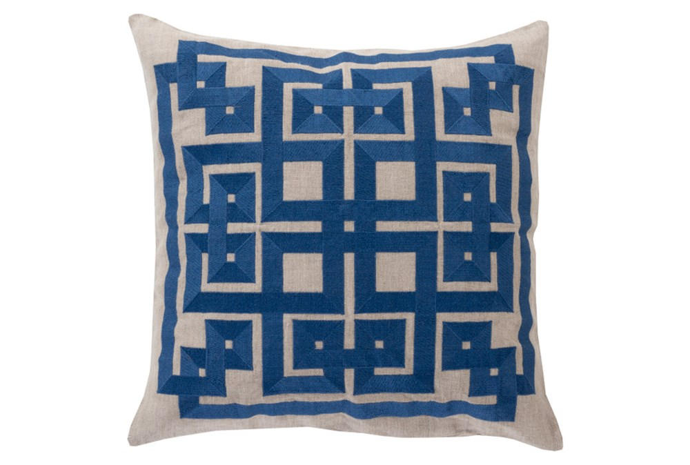 Accent Pillow-Trina Beige/Navy 20X20