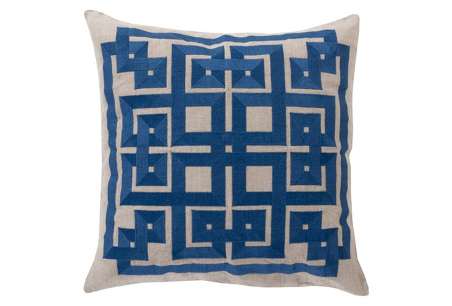 Accent Pillow-Trina Beige/Navy 20X20 - 360
