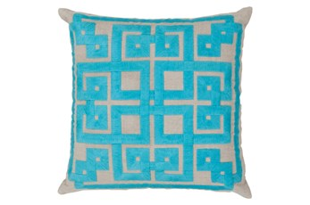 Accent Pillow-Trina Beige/Aqua 22X22