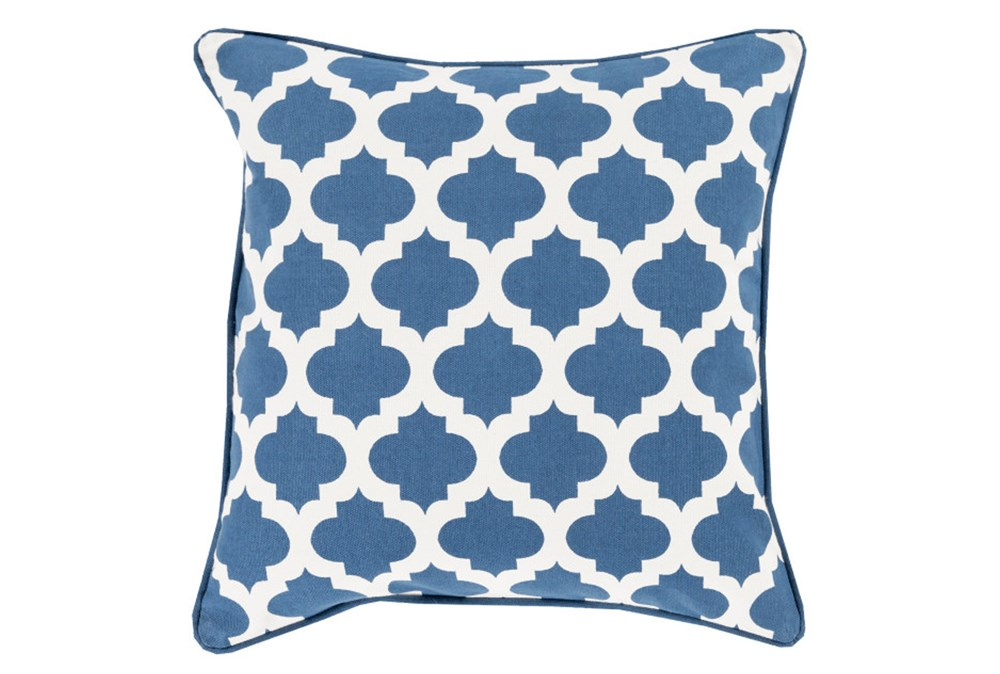 Accent Pillow-Navy Morrocan Tile 22X22