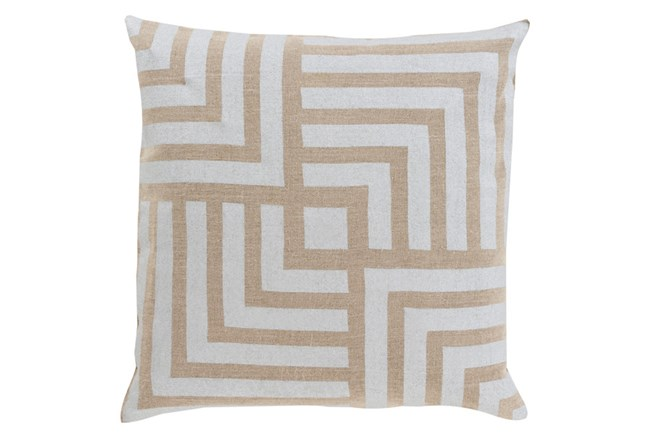 Accent Pillow-Celisse Striped Square Light Tan 18X18 - 360