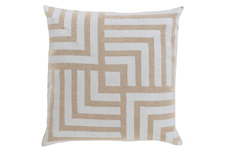 Accent Pillow-Celisse Striped Square Light Tan 20X20