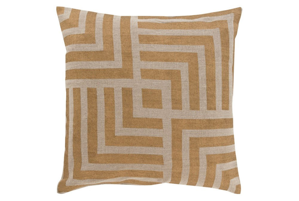 Accent Pillow-Celisse Striped Square Dark Tan 20X20