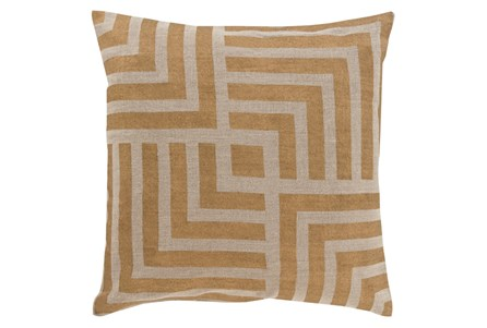 Accent Pillow-Celisse Striped Square Dark Tan 20X20