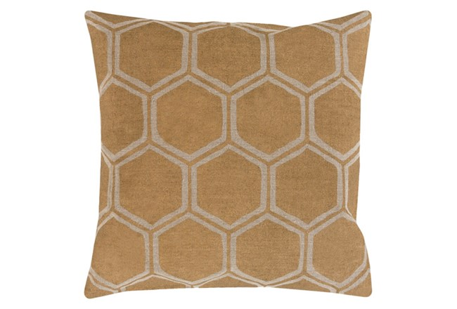 Accent Pillow-Cathryn Honeycomb Dark Gold 18X18 - 360